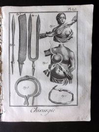 Diderot 1780's Antique Medical Print. Chirurgie 29 Breast Operations